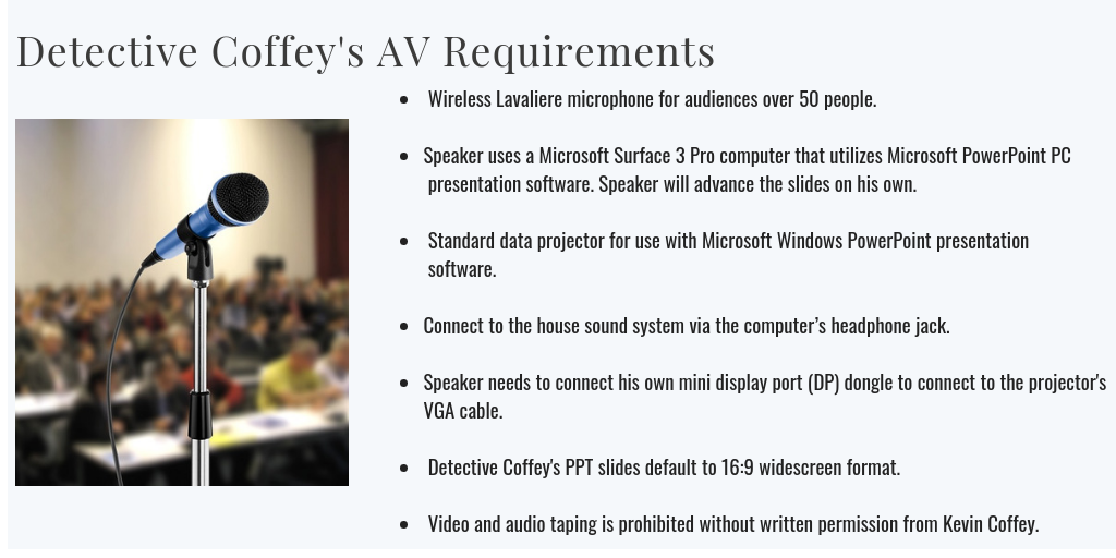 Kevin Coffey AV Requirements